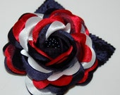 USA Red White Blue Hair Clip Rose Flower Memorial Day 4th of July America Patriotic Accessory