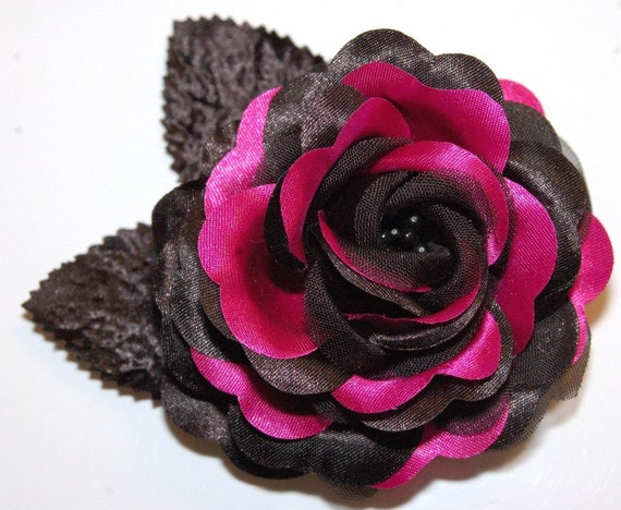 Pinup Burlesque Prom Hot Pink Black Rose Hair Clip Rockabilly Accessory