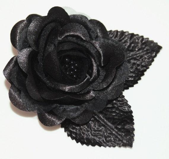 Black Bridal Rose Flower Hair Clip or Pin/brooch Bridal Wedding Bridesmaid Hair Accessories