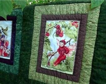 "Fairy Quilt  Autumn Fairy Quilt 45""x68"" Flower Green Brown Red Elves Fairies Childs Quilt Lap Quilt Flower Fairy Quilt Elves Forest Woodland"