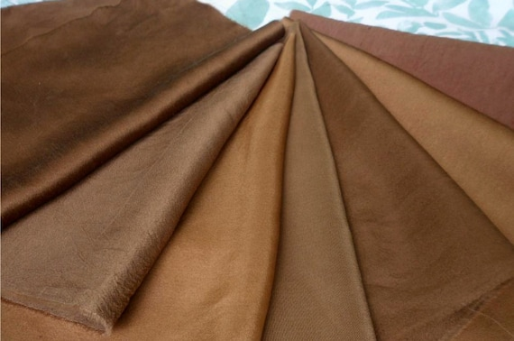 Walnut Dyed Silk Fabric for Art Natural Plant Dyed Golden and Dark Brown