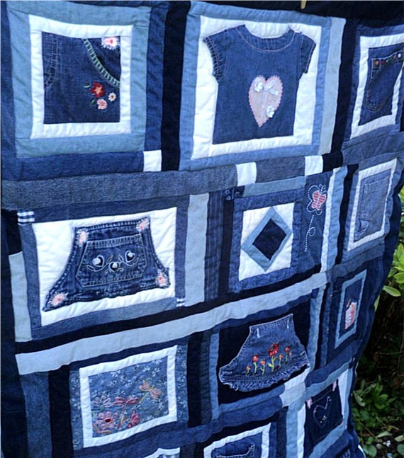 "Blue Jean Quilt Upcycled Jeans Quilt Denim Overalls Quilt Embroiderd Quilt Flowers Hearts Childs Patchwork Quilt 46""x62"" Blue White Quilt"