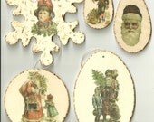 Set of 5 Vintage Looking Ornaments / Gift Tags - Item No. 30