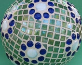 Mosaic Garden Sphere -  Blue White and Green Colors