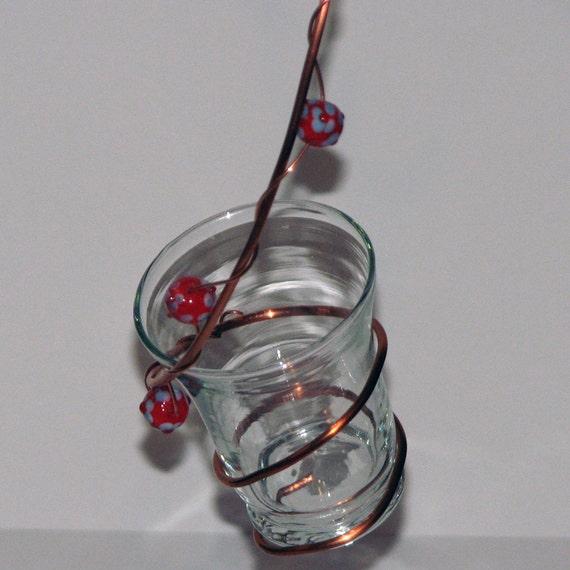 Copper Wire and Glass Bird Feeder