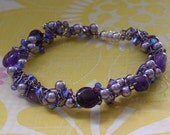 Amethyst and Pearl Wire Wrapped Bracelet
