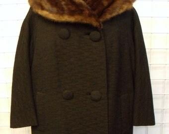 1960s Mink Collar Coat Sz. 8-10