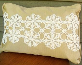 Drift Away - Handmade Pillow Vintage Lace