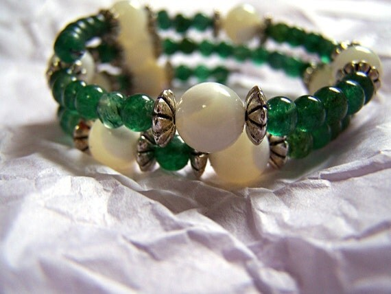 Math Jewelry - Pi Bracelet - Aventurine, Mother of Pearl