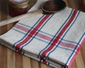 Handwoven kitchen towel / red blue ivory homestead plaid handmade by Nutfield Weaver.