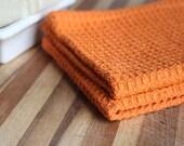 Handwoven orange waffleweave dishcloths / set of 2