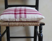 Cranberry red farmhouse plaid pillow cover handwoven by Nutfield Weaver