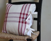 Farmhouse plaid cranberry red pillow cover with muslin ties - made to order -  handwoven by Nutfield Weaver
