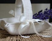 Little ivory burlap basket handmade for your rustic wedding