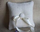 Ivory burlap ring bearer pillow for rustic weddings. Handmade by Nutfield Weaver.
