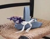 Little flower girl basket handmade from repurposed blue denim for your rustic / eco wedding. Handmade by Nutfield Weaver.