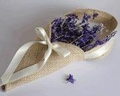 Burlap petal cone. Khaki / natural jute. Basket alternative for rustic weddings.