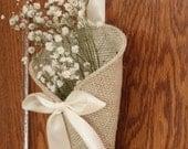 Khaki burlap pew cone / rustic wedding decor. Handmade aisle decoration.
