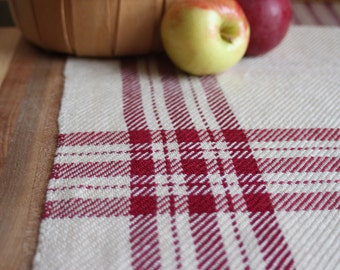 Handwoven table runner in cranberry red farmhouse plaid