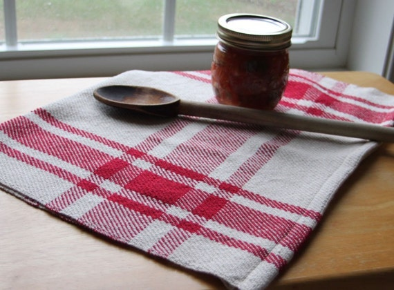 Handwoven kitchen tea towel. Apple red & cream farmhouse plaid. Handmade by Nutfield Weaver.