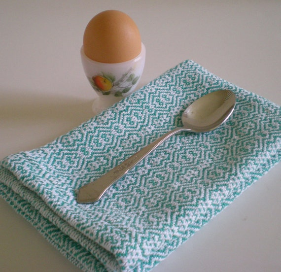 Handwoven table napkins / teal & white  zigzag twill /set of 2 by Nutfield Weaver.