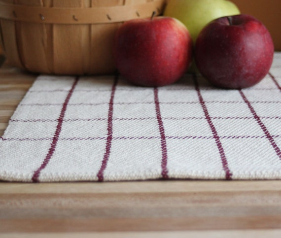 Handwoven kitchen towel / dishtowel brick red & cream windowpane plaid. Handmade by Nutfield Weaver.