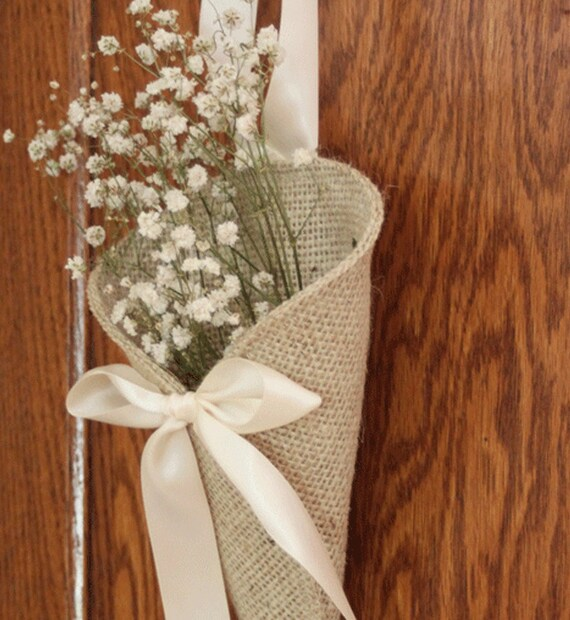 Khaki burlap pew cone / rustic wedding decor. Handmade aisle decoration.