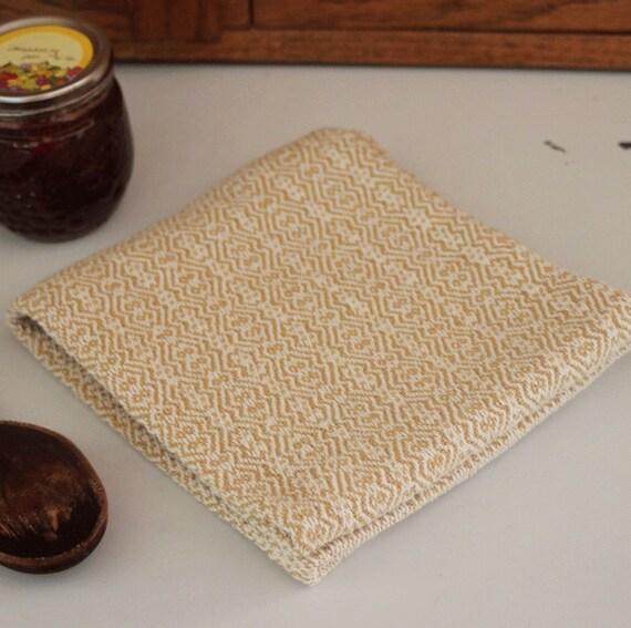 Handwoven kitchen towel / honey mustard & ivory zigzag twill handmade by Nutfield Weaver