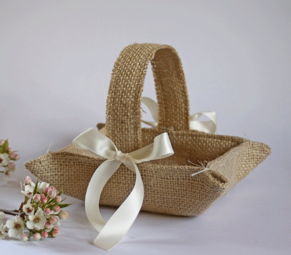 Flower Girl Baskets Burlap : Little burlap flower girl basket khaki by burlappewcones