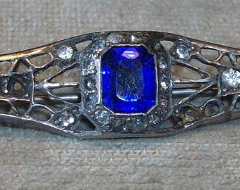 Vintage Sapphire and Clear Rhinestone Deco Sterling Bar Pin
