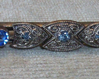 MARKED DOWN   Vintage Sapphire and Clear Rhinestone Deco Bar Pin