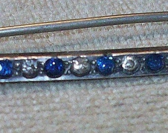 MARKED DOWN    Vintage or Antique Sapphire and Clear Rhinestone Deco Bar Pin