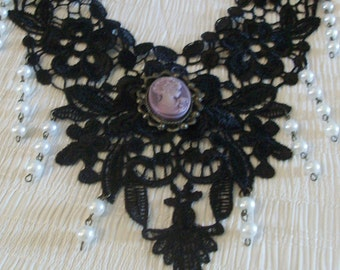Black Lace Applique With Cameo and Pearls