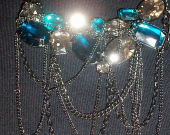 Turquoise and Grey Rhinestone Adjustable Chain Necklace/Choker