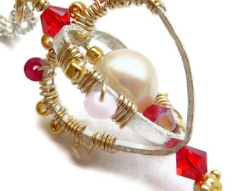 Heart Necklace Sterling Silver Gold Freshwater Pearl Swarovski Crystals