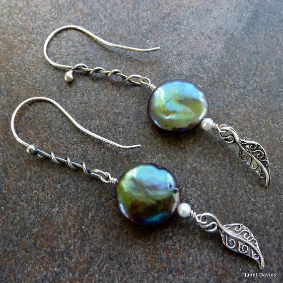 Freshwater Black Pearl Earrings  Oxidized Sterling Silver - Vine