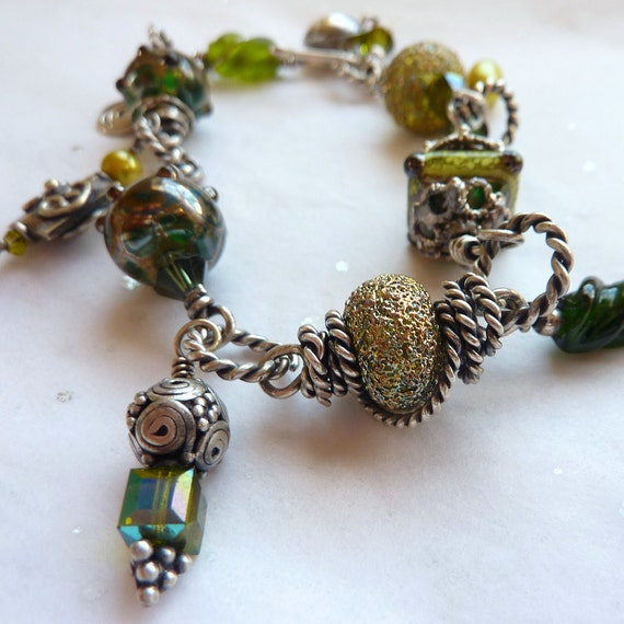 Bracelet Oxidized Sterling Silver Green Lampwork Freshwater Pearl Swarovski Crystal