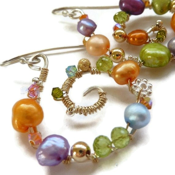 Pearl Earrings Sterling Silver Gold Freshwater Pearls Peridot  Crystals