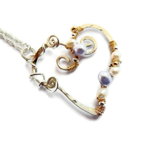 Sterling Silver Necklace Heart Pendant Gold Mixed Metal Freshwater Pearls White Lilac Pale Purple June Birthstone