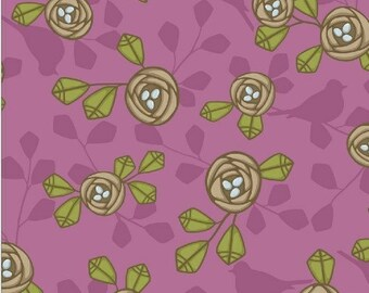 "46"" Magnolia in Sugar Plum Timber Fabric by Jessica Levitt REMNANT"