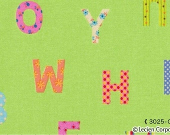 Lime Green Alphabet Caramel Town Lecien Japanese Import Fabric 1 yard