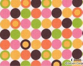 Chocolate Dots Caramel Town Lecien Japanese Import Fabric 1 yard