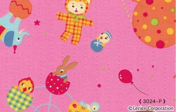 Pink Carnival Caramel Town Lecien Japanese Import Fabric 1 yard