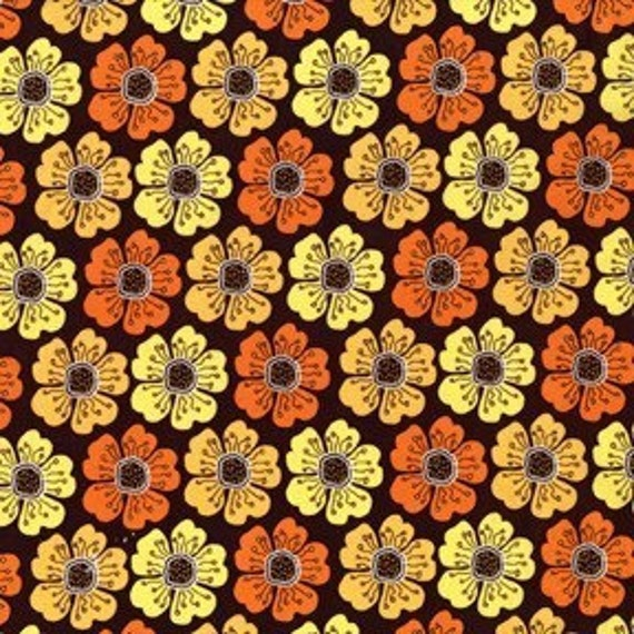 Poppy Parade Brown Meadowsweet Fabric by Sandi Henderson 1 yard