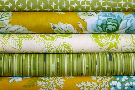 Olive and Gold Nicey Jane Fabric by Heather Bailey Half Yard Bundle 2.5 yard Set