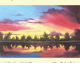 original painting acrylic Sunset lake Reflections Sky trees Abstract Impressionism tree 24x36