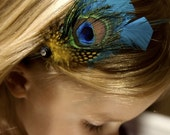 Ellie Vintage Peacock Feather Hair Piece- Kids-Tweens- or the Lovely Lady