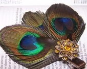 Sadie Peacock Hairpiece with Vintage Jewel