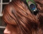 Ellie Vintage Peacock Feather Hair Piece in Black- Kids-Tweens- or the Lovely Lady