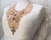 Romance in Paris - Lace bib necklace with bead embroidery inspired by Marie Antoinette